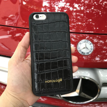 Fashion Black embossed Crocodile Pattern Genuine cow Leather Phone Case For iphone 7 X Covers 5.5'' 4.7'' custom name service(China)