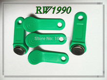 100pcs/lot Rewritable RFID Tag RW1990 iButton Copy Card Touch Memory Key Compatible DS1990 green color