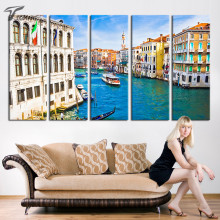 Modern City Wall Art Italy Venice Gondolas Canal Painting on Canvas colorful Building Landscape wall decor paintings No Frame
