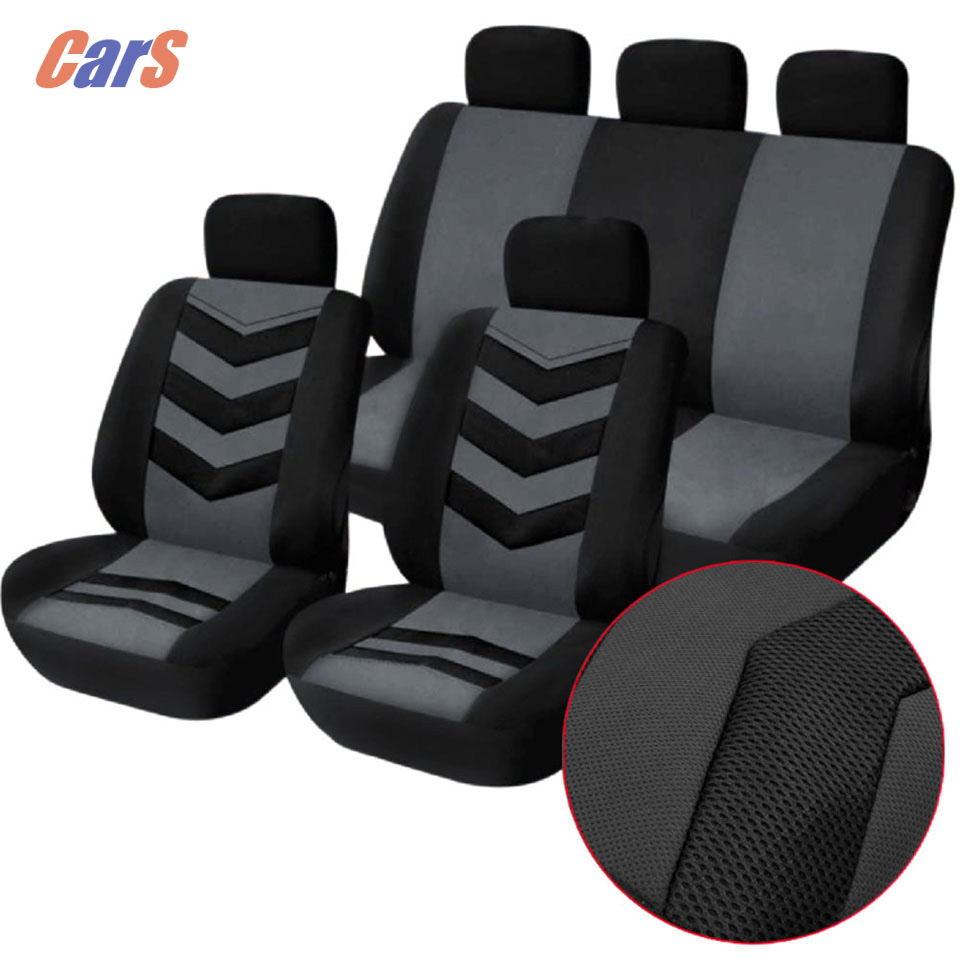 9Pcs/Lot Car Cover Set Universal Car Seat Cover Breathable Mesh Sponge Seat-Cover Durable Covers for Car Seats Black Blue <br><br>Aliexpress