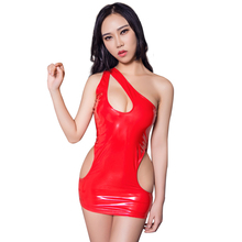 Buy Sexy Women Hollow Micro Mini Dress PVC Shiny Gloss Pole Dance MINI Dress Latex Catsuit Sexy Fantasy Erotic Wear F20
