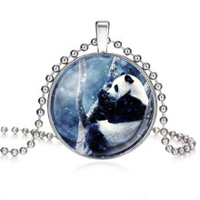 NingXiang Fashion Multi Designs Cute Cartoon Giant Panda Bear Pictures Glass Cabochon Pendant Ball Chain Necklace Jewelry Gifts(China)