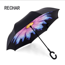 Windproof Reverse Folding Double Layer Inverted Umbrella Self Stand umbrella rain/sun women/men high quality 2016 Child durable(China)