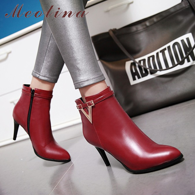 Women's High Heel Ankle Boots, Martin Boots, Zip Pointed Toe, High Heels 10