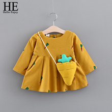 baby girls dress winter 2017 baby girls clothes cotton cartoon long sleeve print carrots infants tutu princess dress with bag(China)