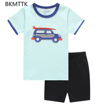 Cotton short sleeved clothes boy cartoon car Home Furnishing's spring and summer summer suit air conditioning suit pajamas(China)