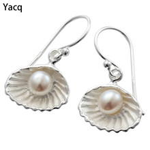 YACQ 925 Sterling Silver Cultured Pearl Dangle Drop Earrings Birthday Party Jewelry Gifts for Women Girlfriend Dropshipping CE40(China)