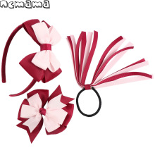 3Pcs/Set Girls Hair Accessories Double Colors Hairband Pinwheel Hairclips Ponytail Hairhoop Handmade Children's Cute Hairdress(China)