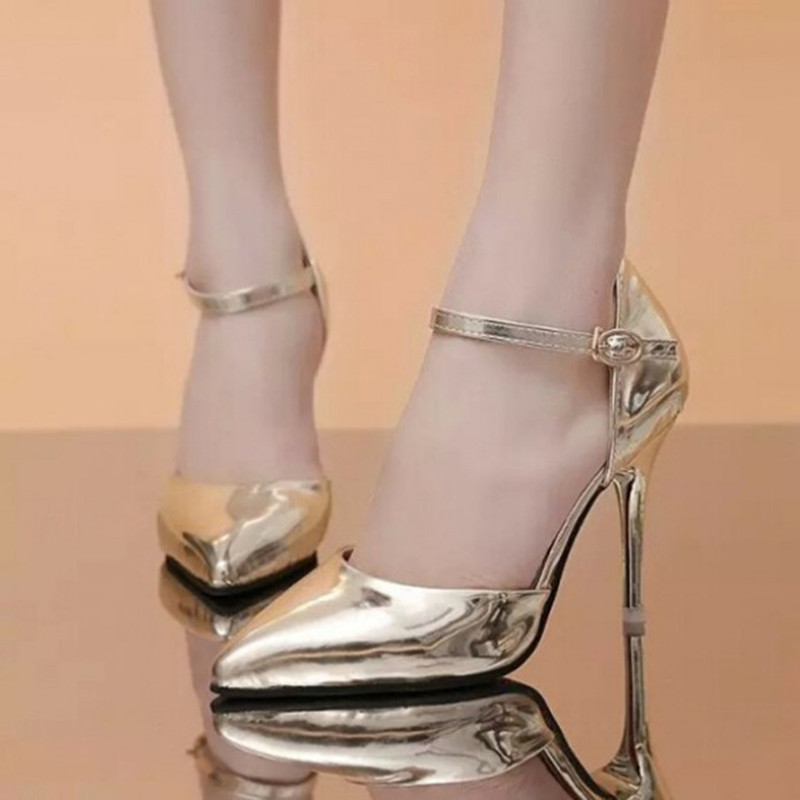 2017 Fashion Gold Women Pumps Ankle-Wrap Pointed Toe Patent Leather High Heels Shoes Buckle Strap Silver Pumps D67 35<br><br>Aliexpress