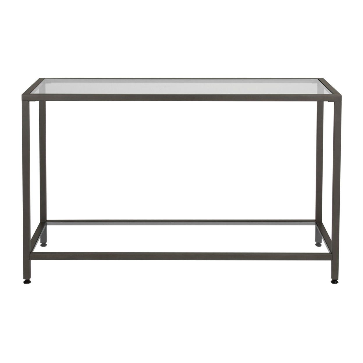 Studio Designs Camber Collection Rectangle Clear Glass Console Table - Pewter