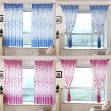 Lovely Eight-leaf Flower Curtain Blue Pink Pastoral Romance Print Sheer Window Curtains Romantic Fresh Living Room Screens(China)