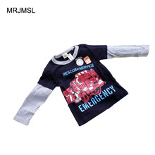 MRJMSL Hot sale Size90~140 kids spring autumn clothing children long sleeve t-shirts for boys t shirts car trucks 2017(China)