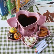 Ceramic Heart Lovers`s Chocolate Fondue Set Fondue Dipper Cheese Hot Pot Melting Bowl Tray Home Kitchen Cheese Tools Supplies