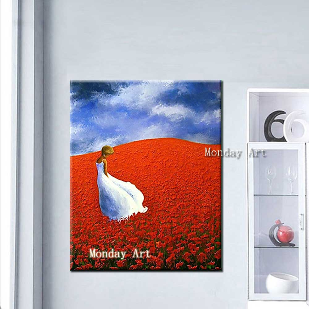 Hand-Painted-Thick-Oil-Flower-Girl-Landscape-Canvas-Oil-Painting-Abstrac-Wall-Art-Picture-Living-Room