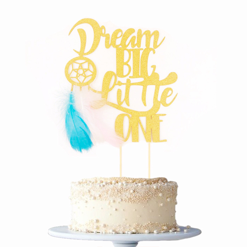 Dream Big Little One Cake Topper Dream Catcher Cake Flags For  Wedding Birthday Party Cake Baking Decor Supplies DIY New Year