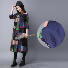 Buy National Chinese Style Frog Cotton Linen Plus Size Long Sleeve Coat Flower Pattern Girls Printed Women Autumn Winter Coat ALD39 for $35.98 in AliExpress store