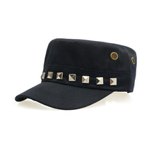 Solid Adjustable Flat Top Army Hat Men's Snapback Baseball Cap with Rivet, Black Navy Beige Dark Green
