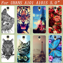 Popular Painting Case For Uhans A101 A101S 5.0inch Protect Cover Blue Butterfly 3D diy Luxury Design FOR UHANS A 101 Case Cover(China)