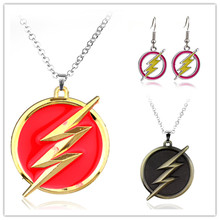 Fashion America DC Comics The Flash Goldon Lightning Torque Collier Red Gold Logo Necklace Gift For Car Souvenirs Accessories(China)