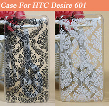 Fashion Darwing Vintage Black & white Paisley Flower Hard  Plastic Painting Cover Case FOR HTC Desire 601 Case Cover