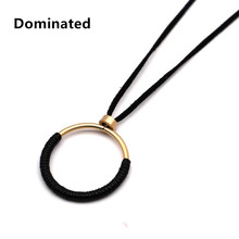Dominated Women Big Circle Rope Simple Long Paragraph Sweater Chain All-match Female Pendant Necklace Decoration Accessories(China)