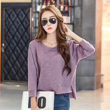 Buy Spring Autumn T-shirt Women Clothing Long sleeve clothes T Shirt O neck patchwork Fashion Female Solid Pink Black Top Tees for $12.25 in AliExpress store