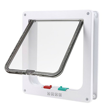 Cat Flap 4 Ways Locking Cat Door (Large Size)Pet Door Kit for Cats and Small Dogs with Telescopic Frame Installing Easily