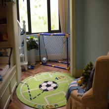 Cartoon fashion green football carpet the living room bedroom bedside chair round computer boy playmat acrylic rug pad mat(China)