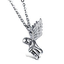 Jiayiqi 2017 Fashion Fine Jewelry Men Stainless Steel Girl Angle Wings Pendant & Necklace Fairy Male Women Collar Accessories(China)