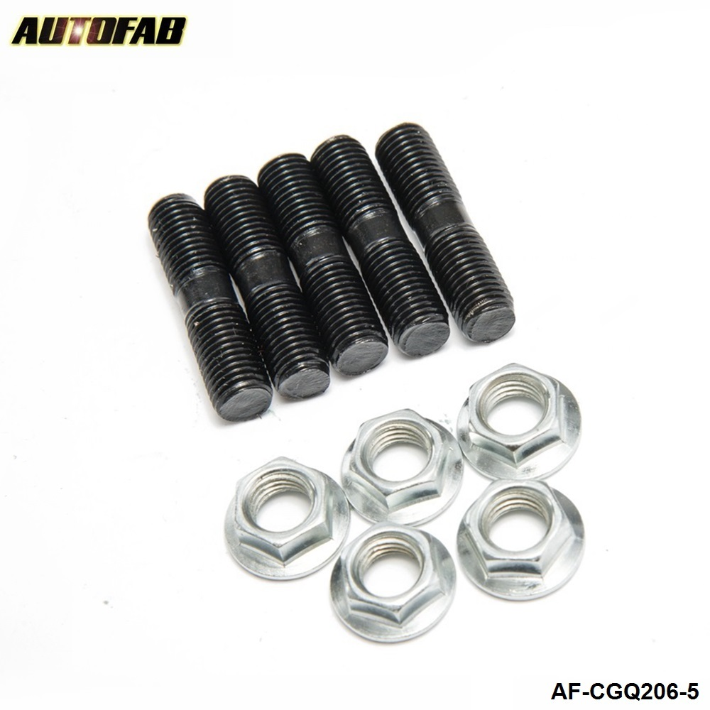 AUTOFAB- 5 x M10x1.25 mm Turbo Studs +Lock Nut For Mitsubishi EVO , DSM Turbine Housing L:40mm AF-CGQ206