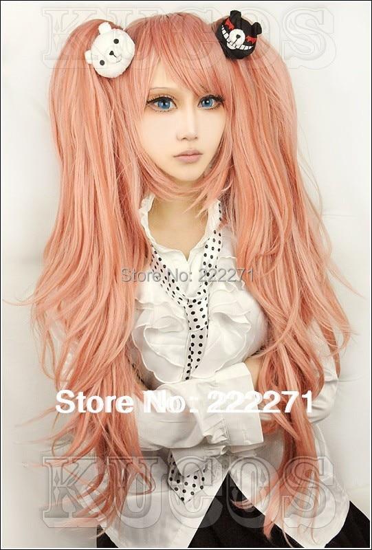 Free Track Anime Dangan Ronpa Zero Junko Enoshima Long Light Pink Cosplay Wig Without Panda Clips Costume Heat Resistant +Cap<br><br>Aliexpress
