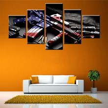 high quality 5 pieces modern canvas oil painting about cool Military equipment pictures decor for coffee pub bar living room(China)