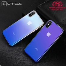 CAFELE Case For iPhone X 10 Originality luxury Aurora Gradient Color Transparent Case For iPhone X 10 light Cover Hard PC Cases(China)
