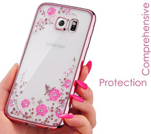 Flower Diamonds Case Samsung Galaxy J3 J5 J7 J2 Grand Prime J1 A3 A5 2016 2017 S4 S5 S6 S7 edge S8 PLUS Soft Cover