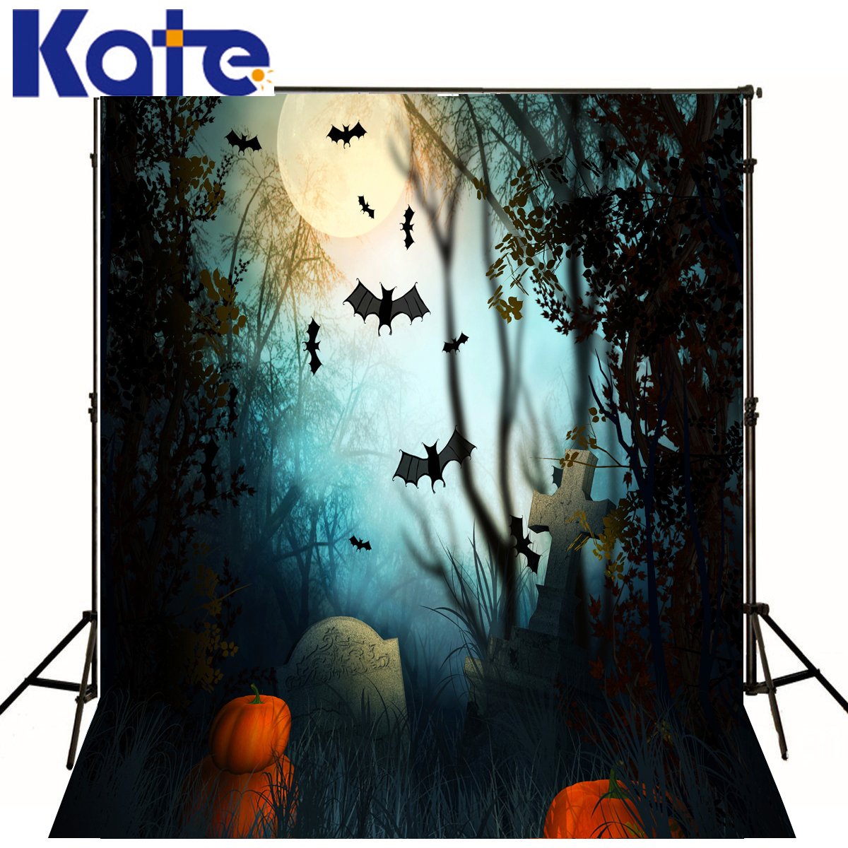 Photo Background Pumpkins Bat Forest Halloween Photo Background Cross Tombstone Background Customize Backdrop<br>