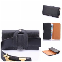 For Multi Phone Model Lichee Pattern Universal Belt Clip Buckle Leather Cell Phone Case Flip Cowskin Cover Wallet Pouch