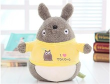 cute small Totoro plush toy stuffed totoro doll with yellow coat birthday gift about 25cm
