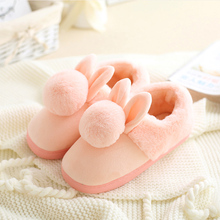 Women shoes Pink Slippers Women and men Cotton Slippers In Winter House Lovely Rabbit Indoor Slippers Pregnant Woman(China)