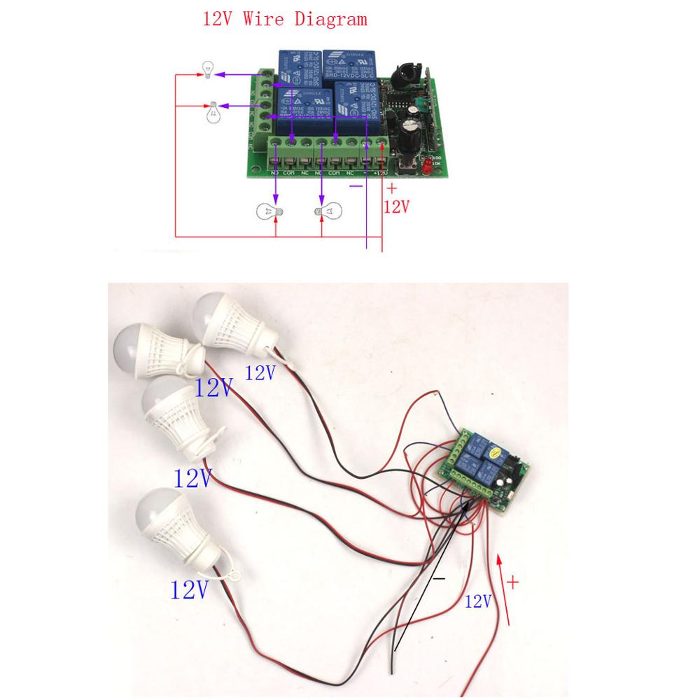 12V 4CH Remote Switch 433MHz Electric Door Remote Control Switch Universal 12V 4CH 315MHz433MHz Transeiver Module (4)