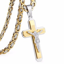 "Crucifix Jesus Cross Necklace Stainless Steel Christs Pendant Gold Byzantine Chain Men Necklaces Jewelry Gifts 22"" (55cm) NZ015(China)"
