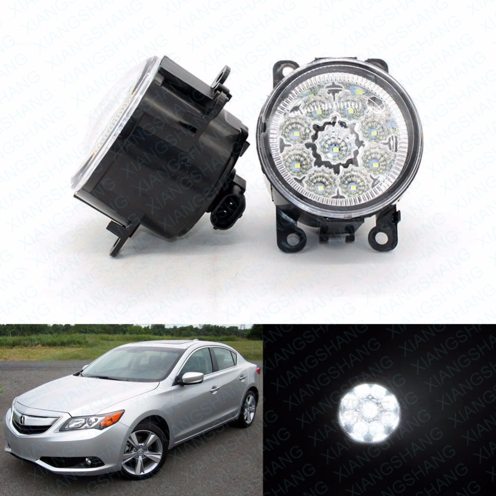 2pcs Car Styling Round Front Bumper LED Fog Lights DRL Daytime Running Driving fog lamps for Acura ILX sedan 4 door 2013-2014<br>