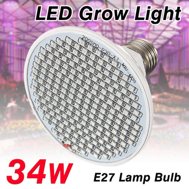 34W Lámpara Luz Hidropónica Crecimiento LED Espectro Completo E27 Hydro Plantas
