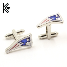 New England Patriots Cufflinks For Mens Top Grade American Football Brand Shirt Cuff Buttons Classic Silver Cuff Links Gifts Hot(China)