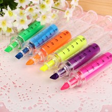 6pcs per lot Cute Novelty Nurse Needle Syringe Shaped Highlighter Marker Pen student kids funny Stationery School Supplies toys