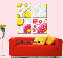 Free shipping 4 pcs Modern Home Decoration wall art picture colorful circle canvas print oil painting canvas art for living room