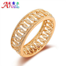 ARUEL Fashion Women Gold Color Jewelry Wedding Austrian Crystal Rhinestone Party Cross Big Bracelets & Bangles Christmas Gift