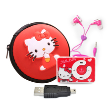 Cute Cartoon Hello Kitty MP3 Music Player Support microsd TF Card Mini MP3 Player+Hello Kitty Earphone+Mini USB+Hello kitty bag(China)