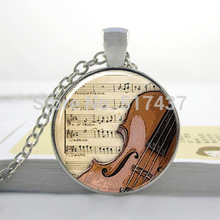 photo New Art  Glass Necklace Guitar Necklace Musical Instrument Jewelry Music Lovers Pendant Glass Dome Cabochon Necklace