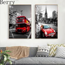 2pcs/set Art Modern Painting Handmade diy 5d diamond embroidery London street bus 5d diamond Painting Home decor Wall Pictures