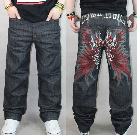 Fashion Men Embroideried Butterfly Wide Leg Loose Casual Brand Denim Jean Pant, Large Size Hip Hop Skateboard Straight Trousers Одежда и ак�е��уары<br><br><br>Aliexpress